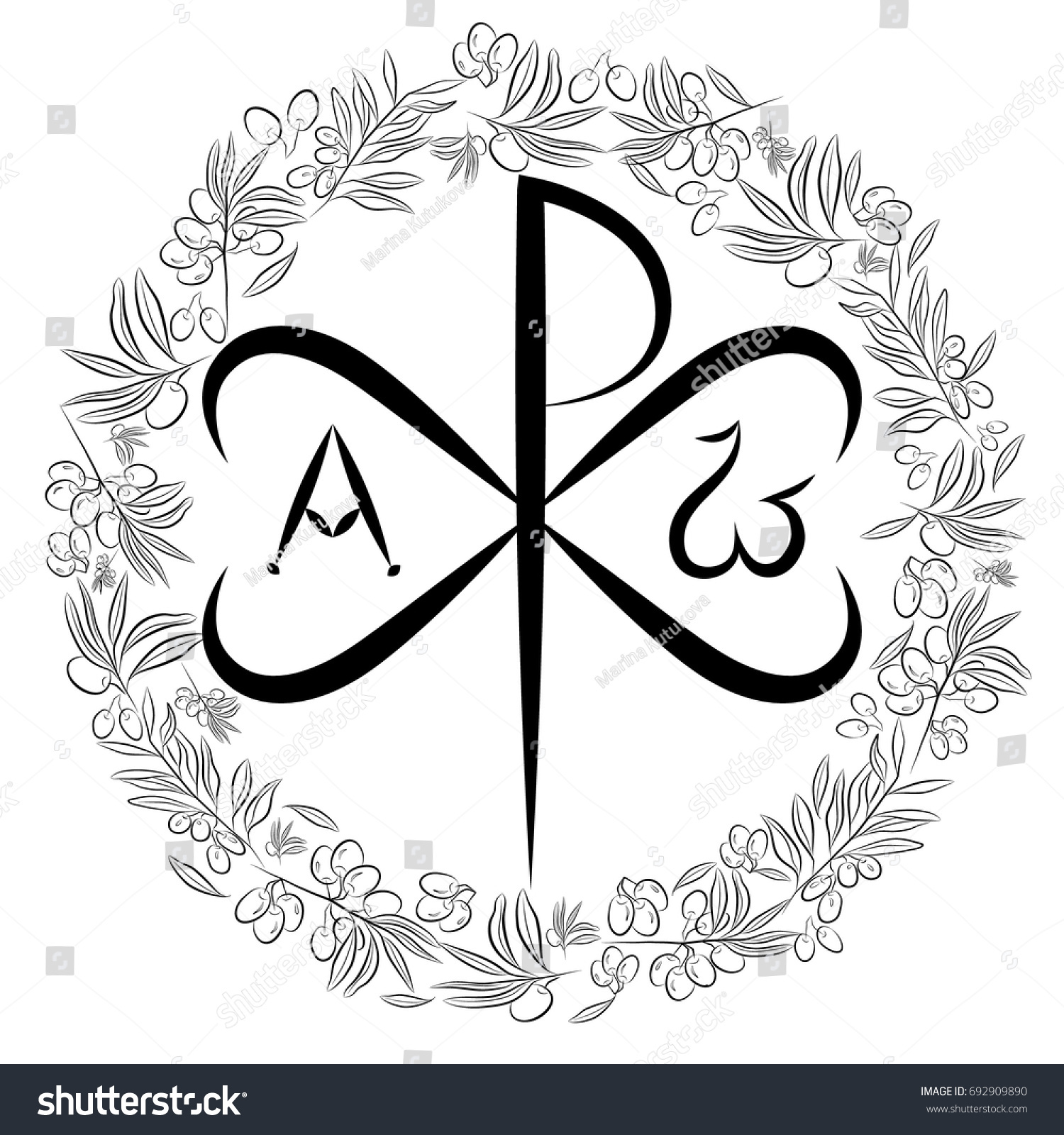Chi ro chrisma chrismon monogram name stock vector 692909890 monogram of the name of christ i am biocorpaavc Images