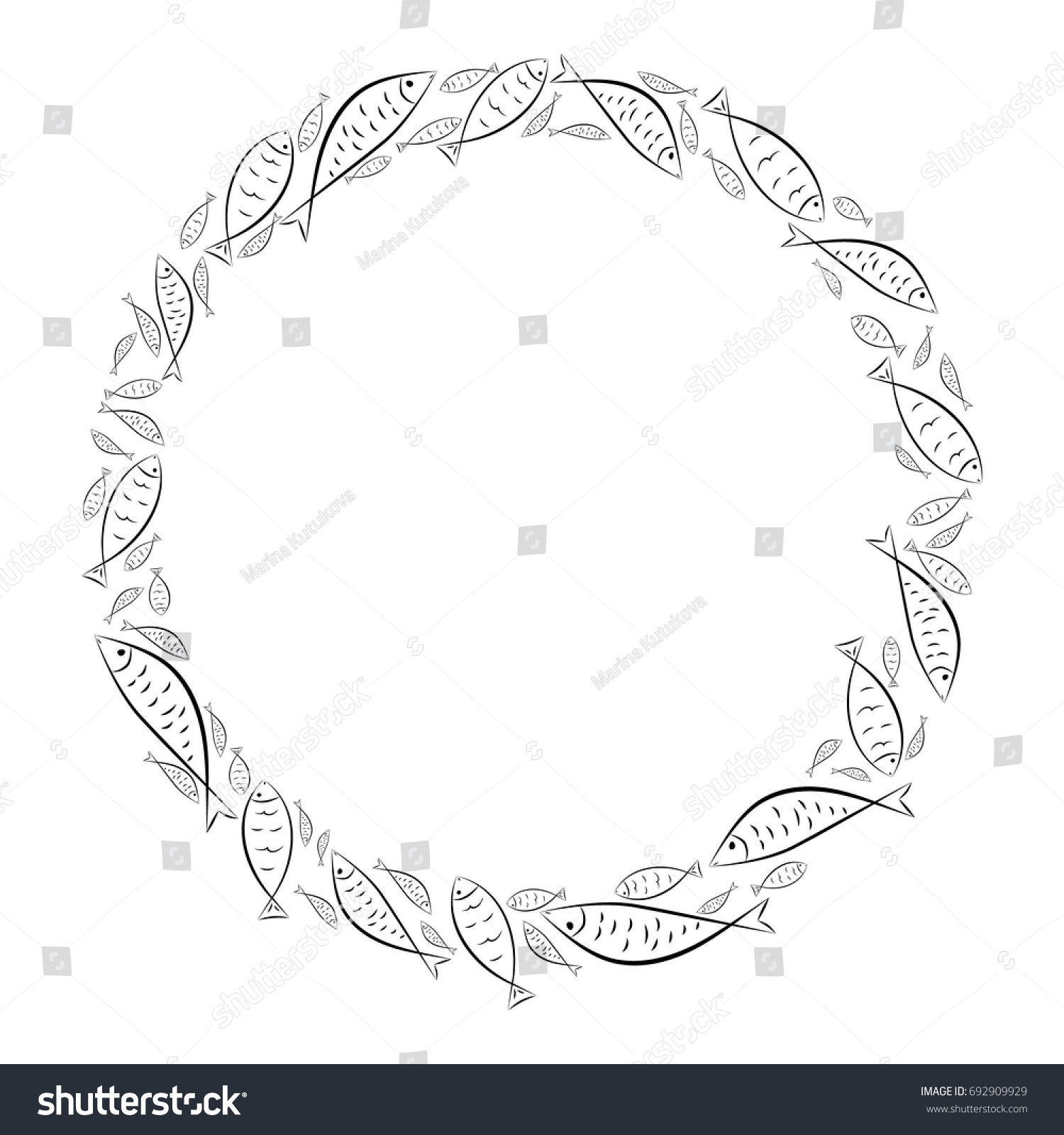 Circle Frame Ichthys Symbol Fish Ancient Stock Vector 692909929