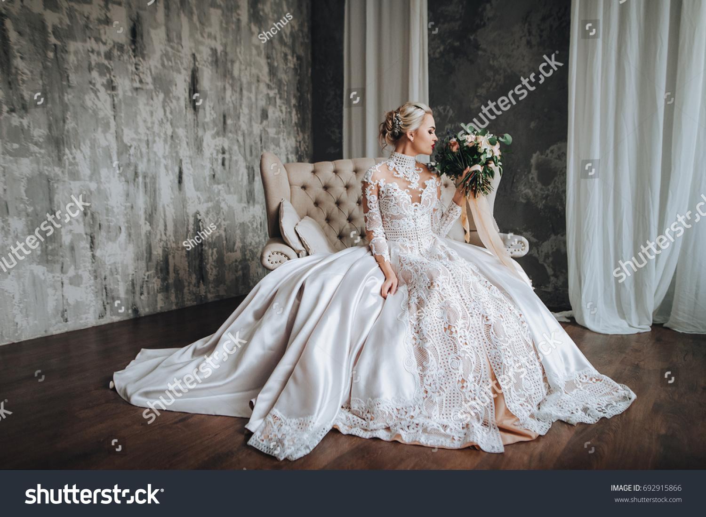Beautiful Bride Cream Wedding Lace Dress Stock Photo Edit Now