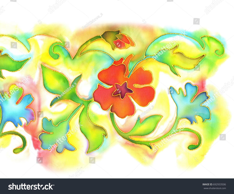 Batik Watercolor Painting On Silk Colorful Stock Illustration