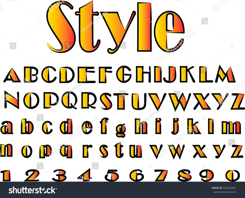 Stylish Fonts In Orange Black Color Vector Illustration