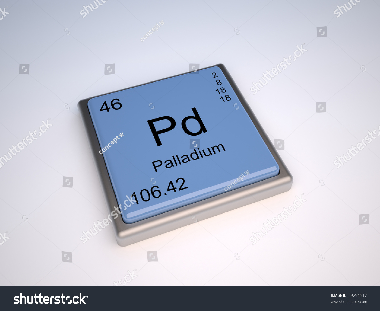 Palladium Chemical Element Periodic Table Symbol Stock Illustration