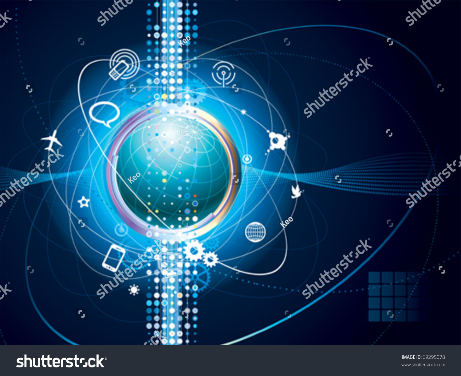 Technology Background Of Global Communication Connection ...