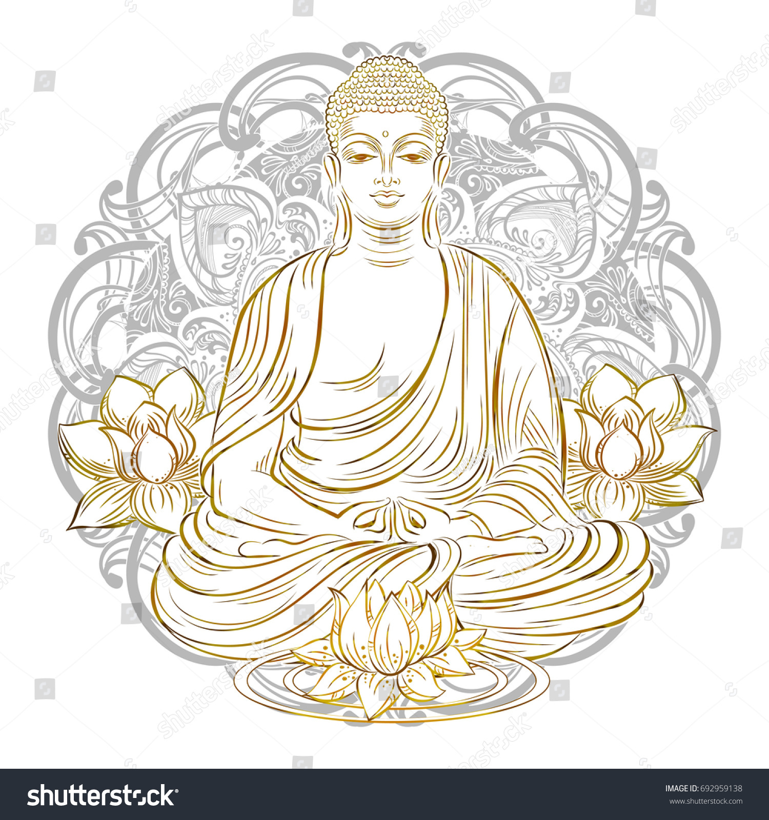 Buddha Sitting In The Lotus Position With An Illuminated Face On Background Of Mandala