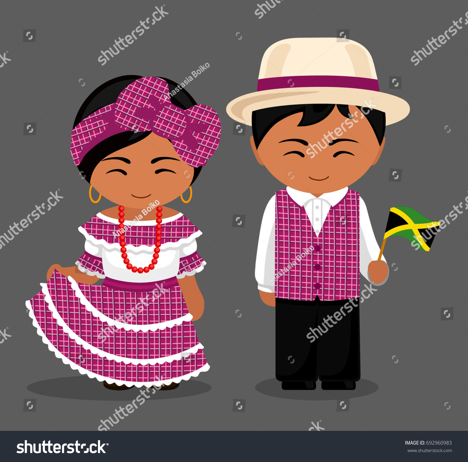 Jamaicans National Dress Flag Man Woman Stock Vector
