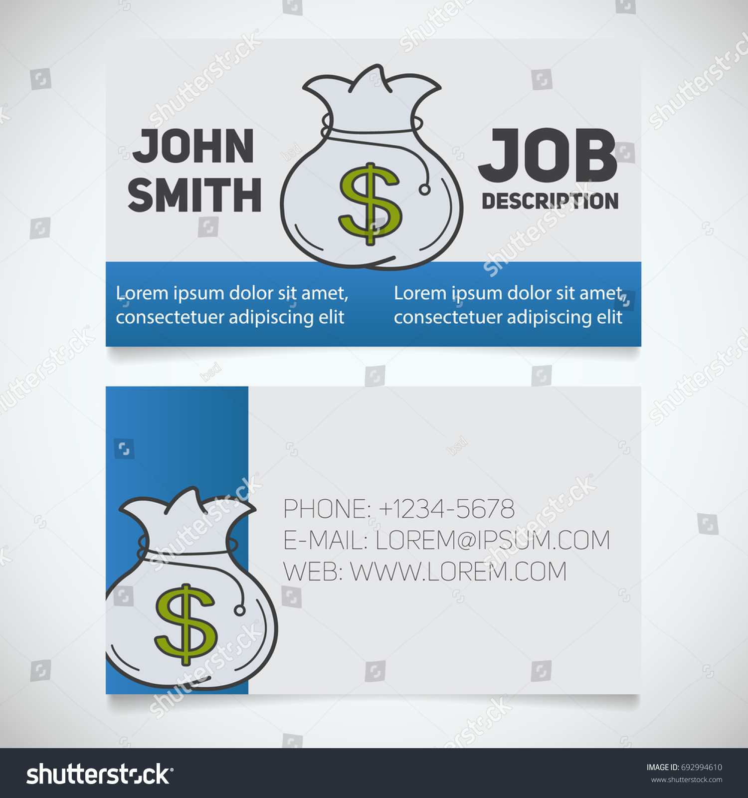 Business Card Print Template Money Bag Stock Illustration 692994610 ...