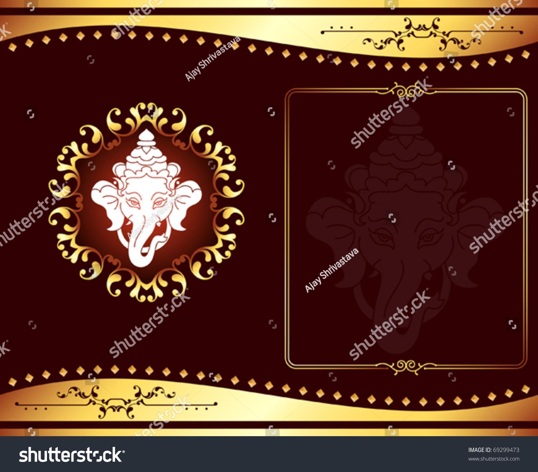 Ganesha Wedding Card Design Stock Vector 69299473 - Shutterstock