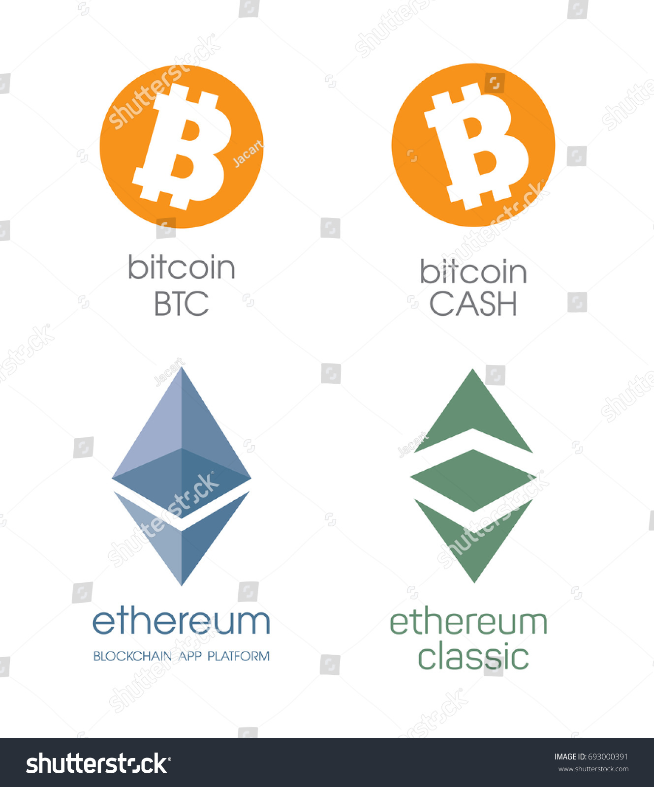Logo Bitcoin And Cashe Ethereum Cripto Currency Chrystal Icon Blockchain Platform