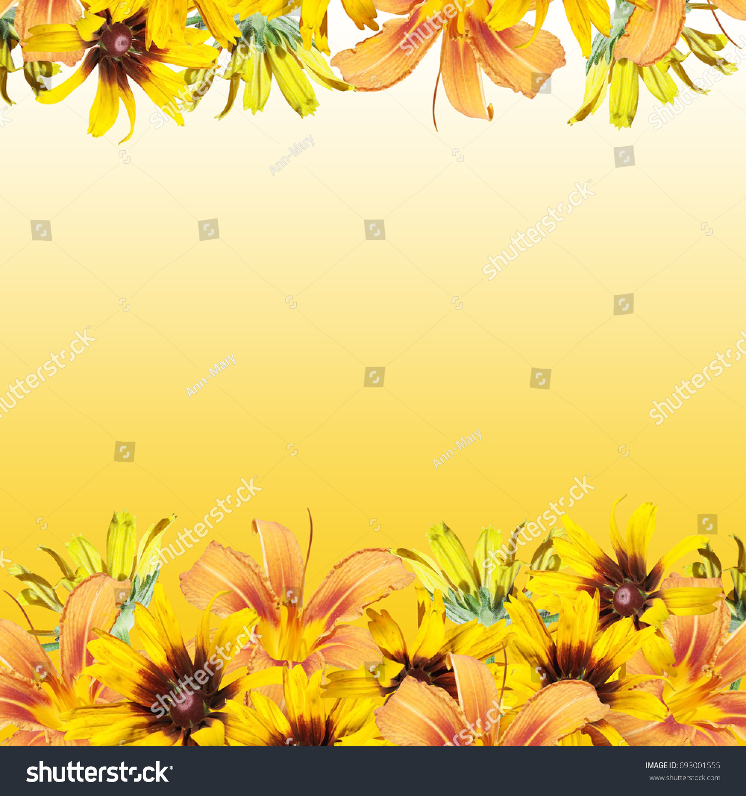 Beautiful Floral Background Yellow Orange Flowers Stock Photo Edit