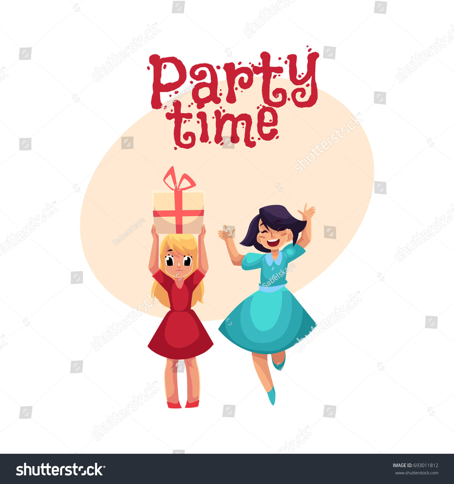 Two Girls Birthday Party One Dancing Stock Vector HD (Royalty Free ...