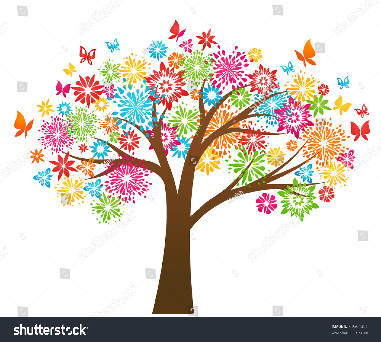Vector Illustration Tree: Flower Tree Stock Vector Illustration 69304351 : Shutterstock