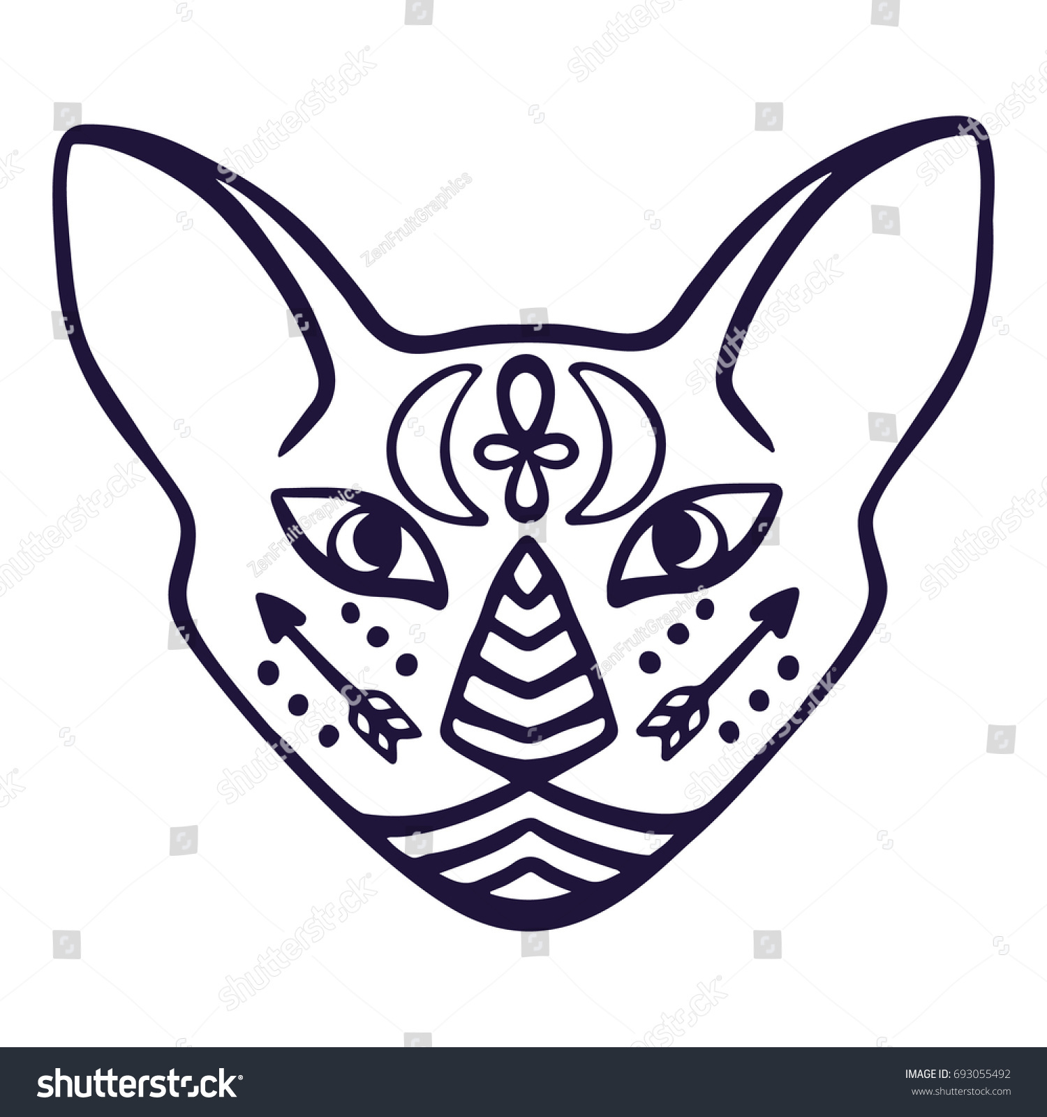 Cat Face Vector Sacred Animal Ancient Stock Vector Royalty Free