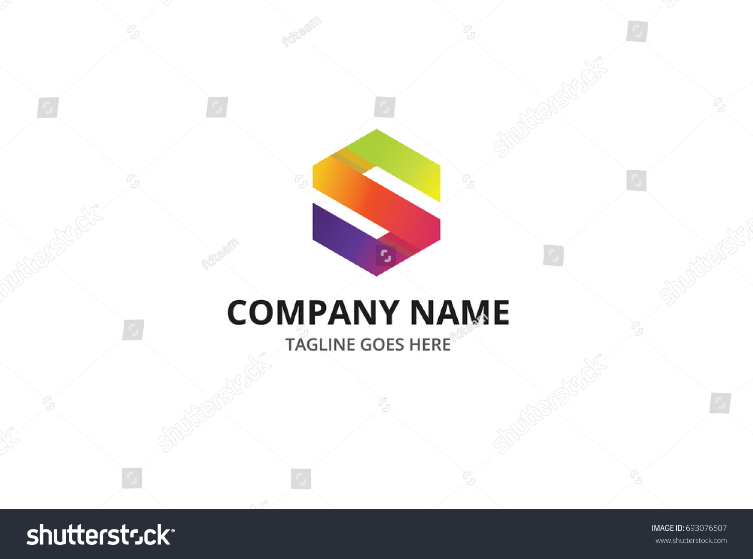 Colorful S Fold Letter Logo Template Stock Vector