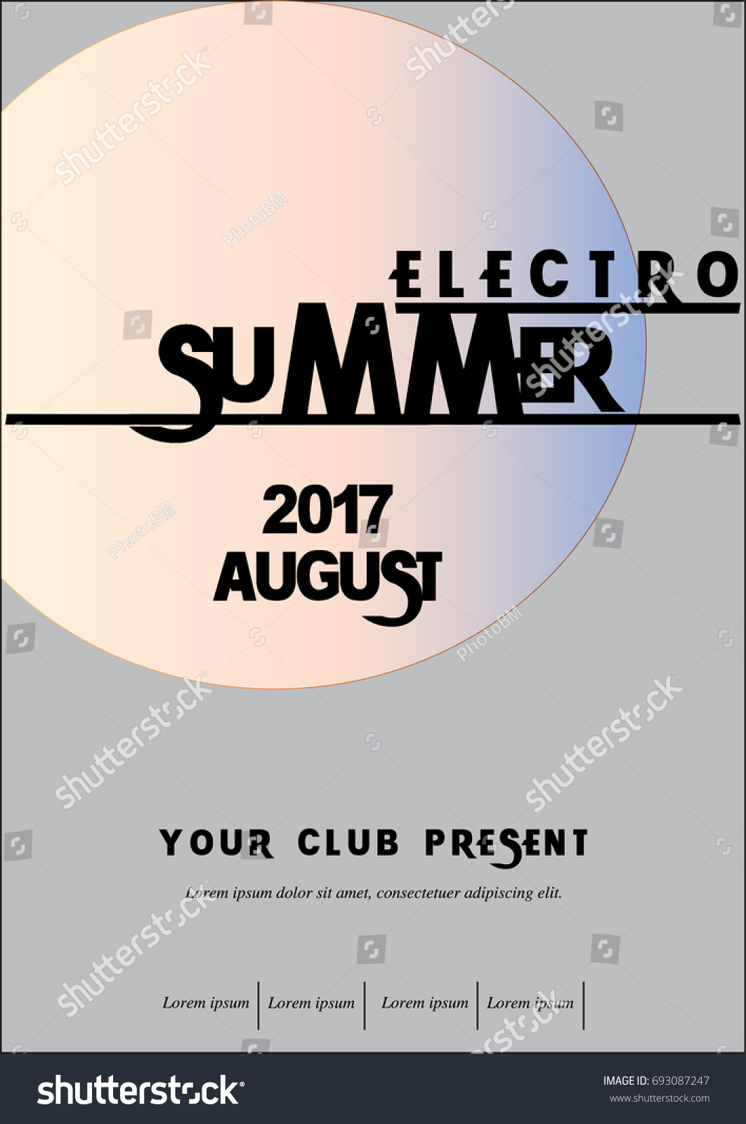 Electro Summer Music Poster Stock Vector HD (Royalty Free) 693087247 ...