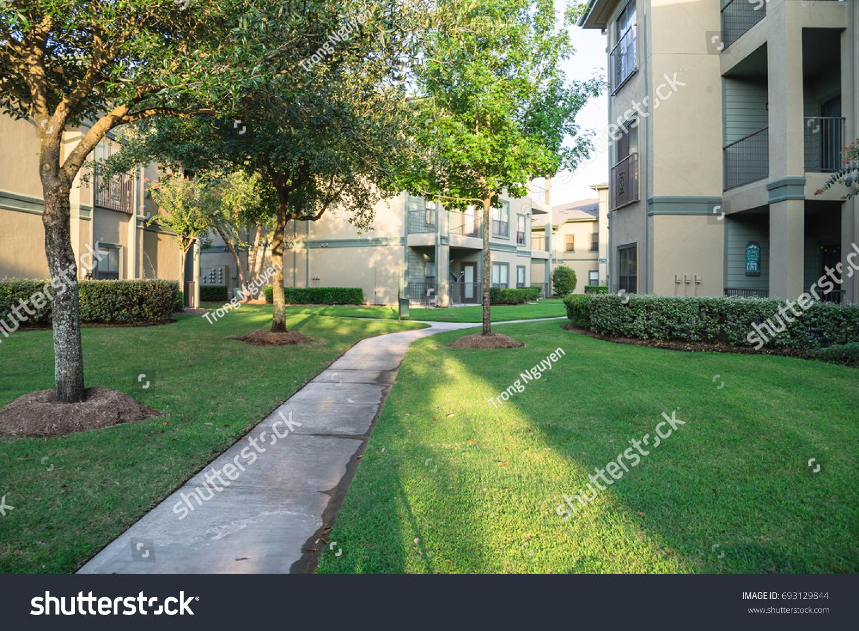 clean lawn tidy oak trees along stock photo 693129844 shutterstock