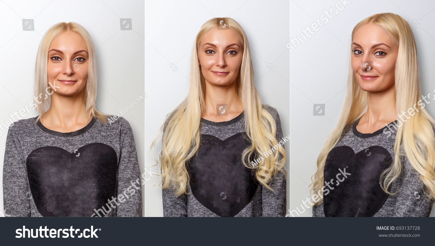 Hair Extensions Procedure Hair Before After Stock Photo Edit Now