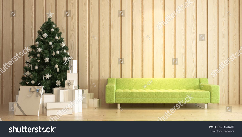 Modern Living Room Perspective Christmas Tree Stock Illustration ...