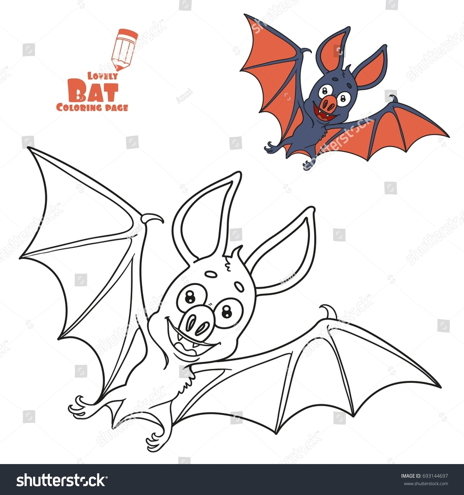 Cute Halloween Bat Color Outlined Coloring Stock Vector 693144697 ...