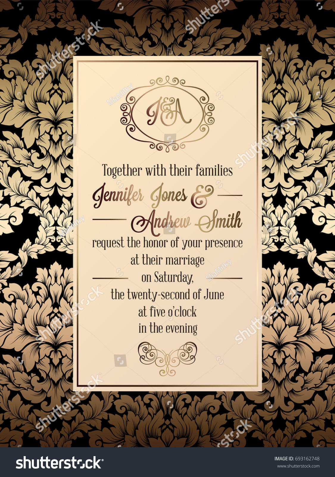 Vintage baroque style wedding invitation card stock illustration vintage baroque style wedding invitation card template elegant formal design with damask background stopboris Choice Image