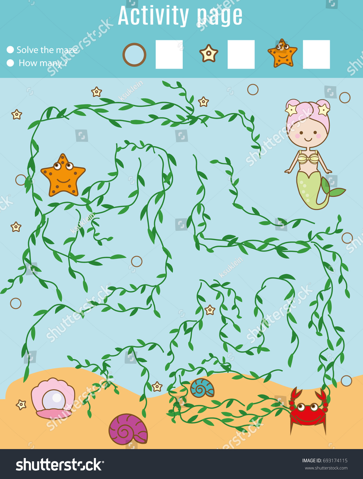 Activity Page Kids Educational Game Maze Stock Illustration ...