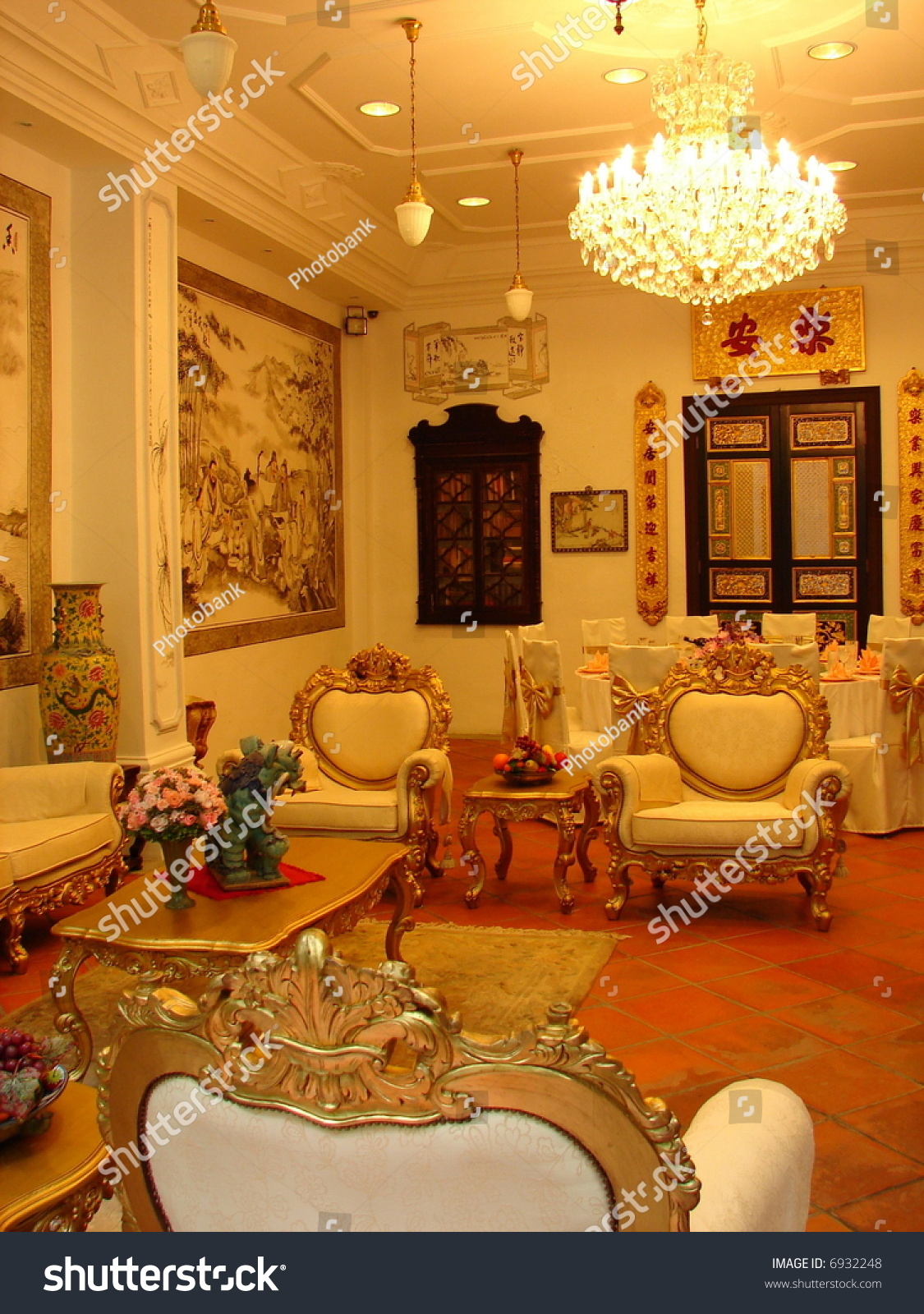 Grand Living Room: Grand Oriental Mansions Living Room Antique Stock Photo
