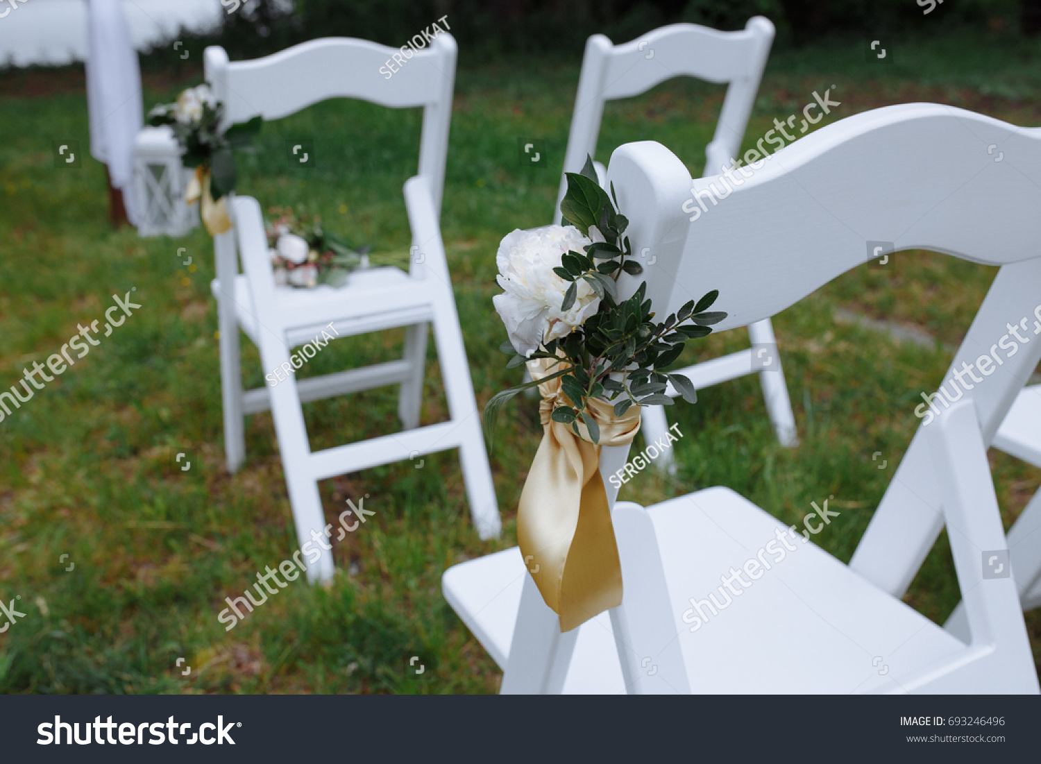 Riginal Wedding Decorations White Chairs Greenery Stock Photo Edit Now 693246496