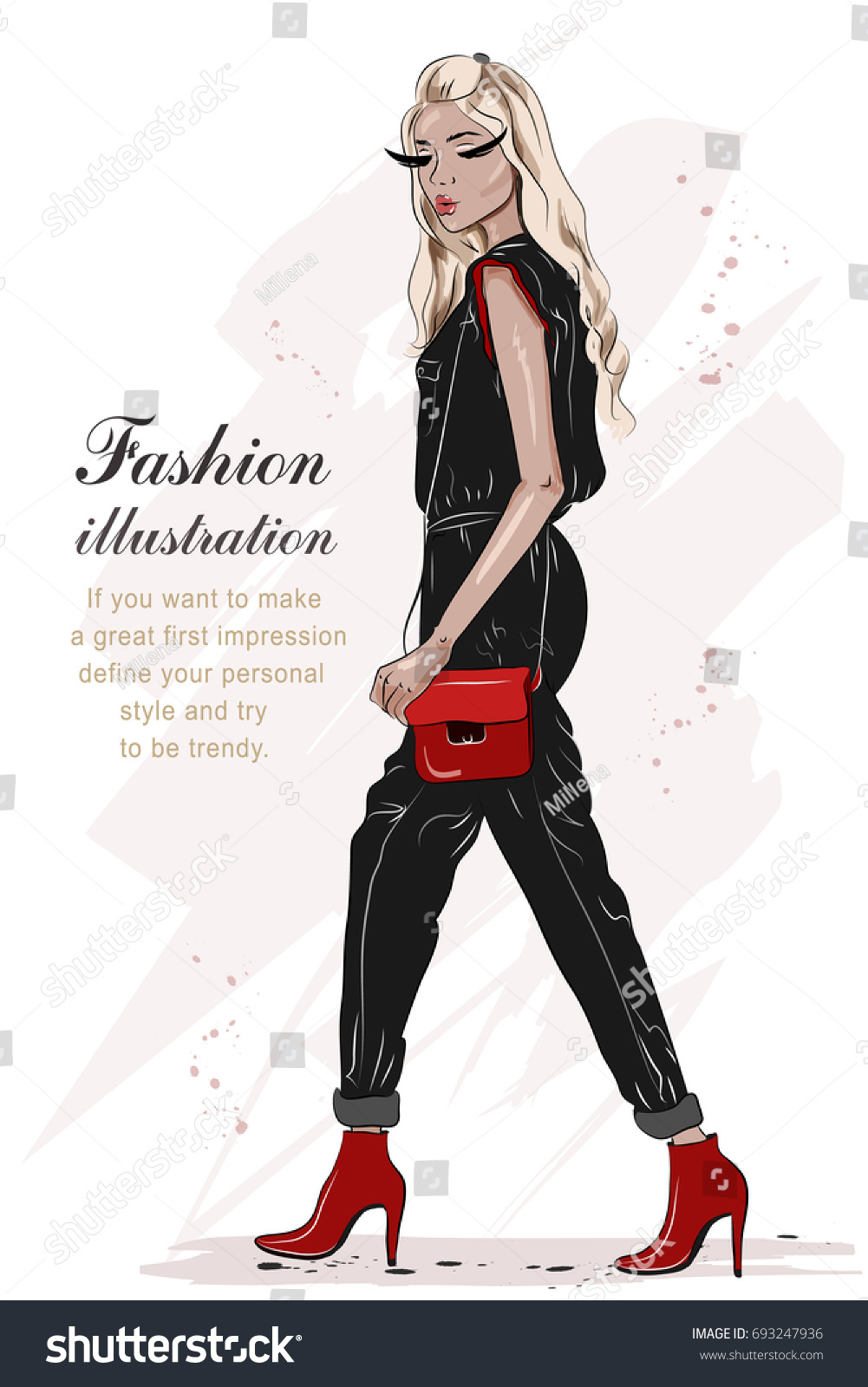 beautiful fashion girl hand drawn black stock vector