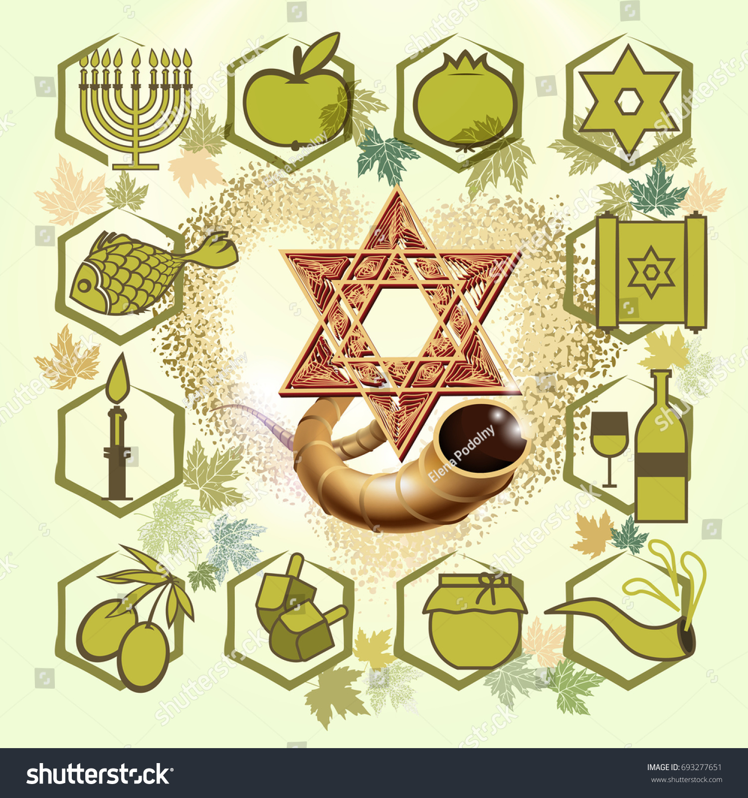 Set Traditional Hebrew Symbols Jewish Holidays Stock Vector Royalty