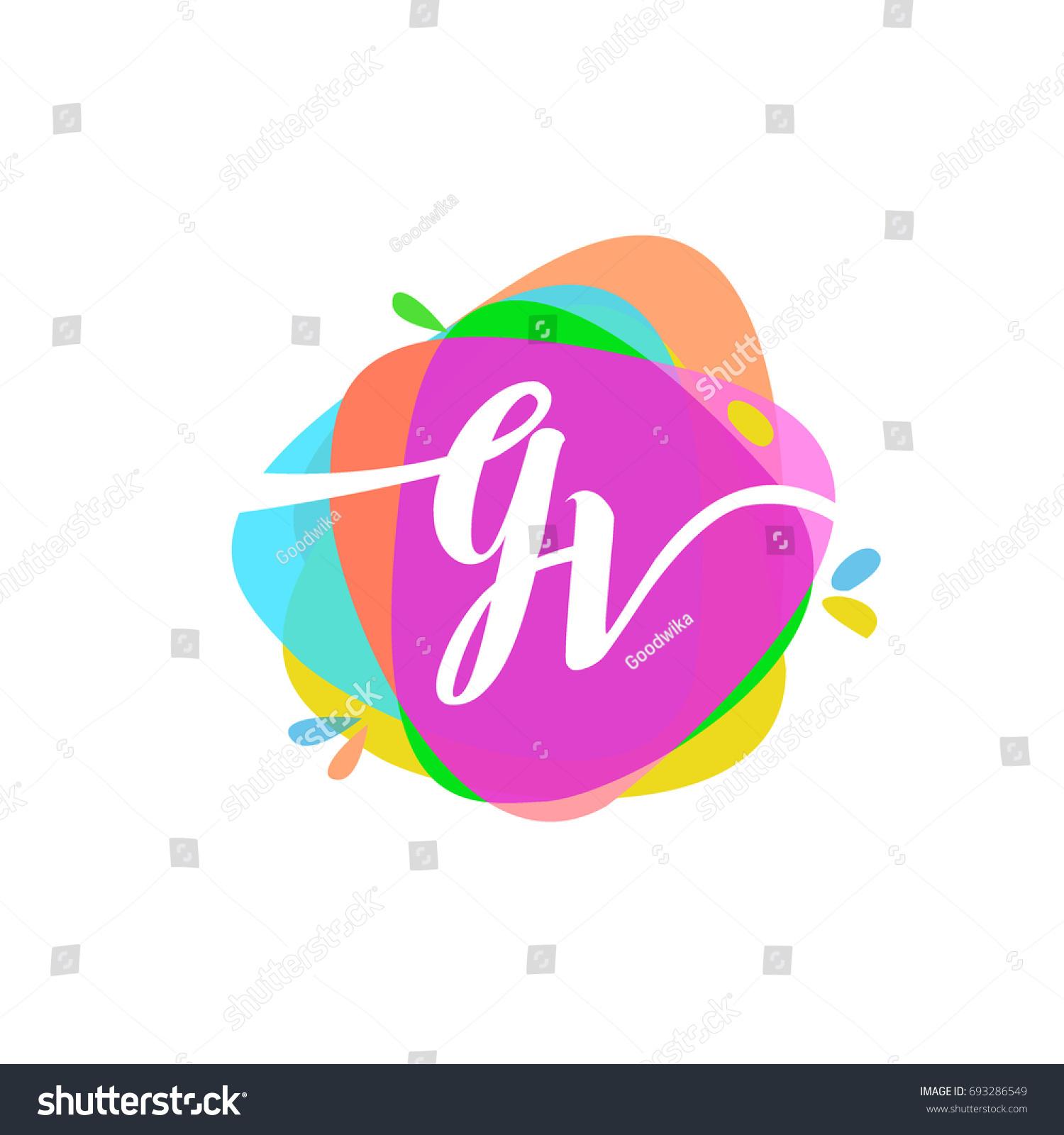 Letter GV Logo Colorful Splash Background Stock Vector (Royalty Free ...