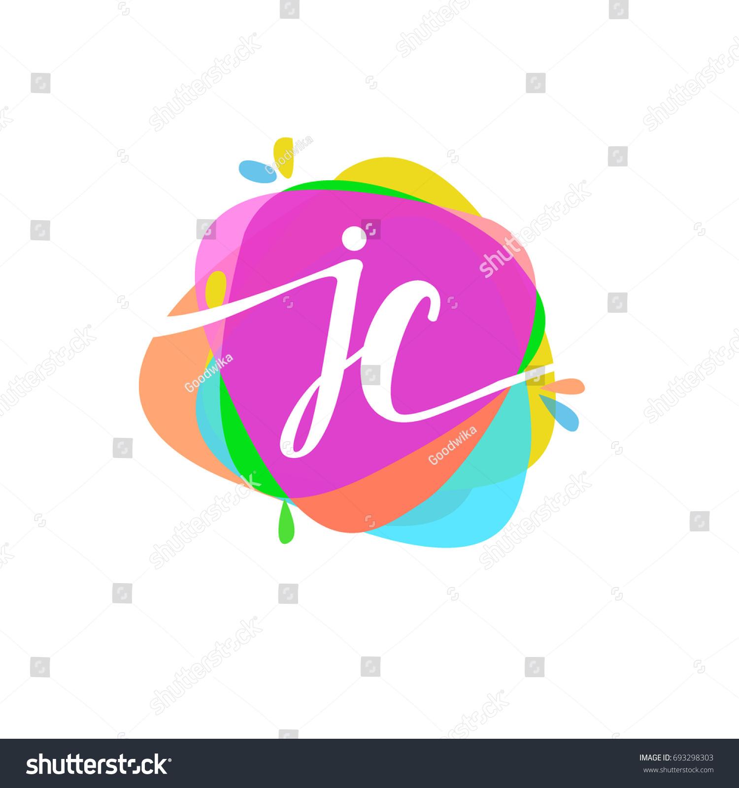 Letter JC Logo Colorful Splash Background Stock Vector (Royalty Free ...
