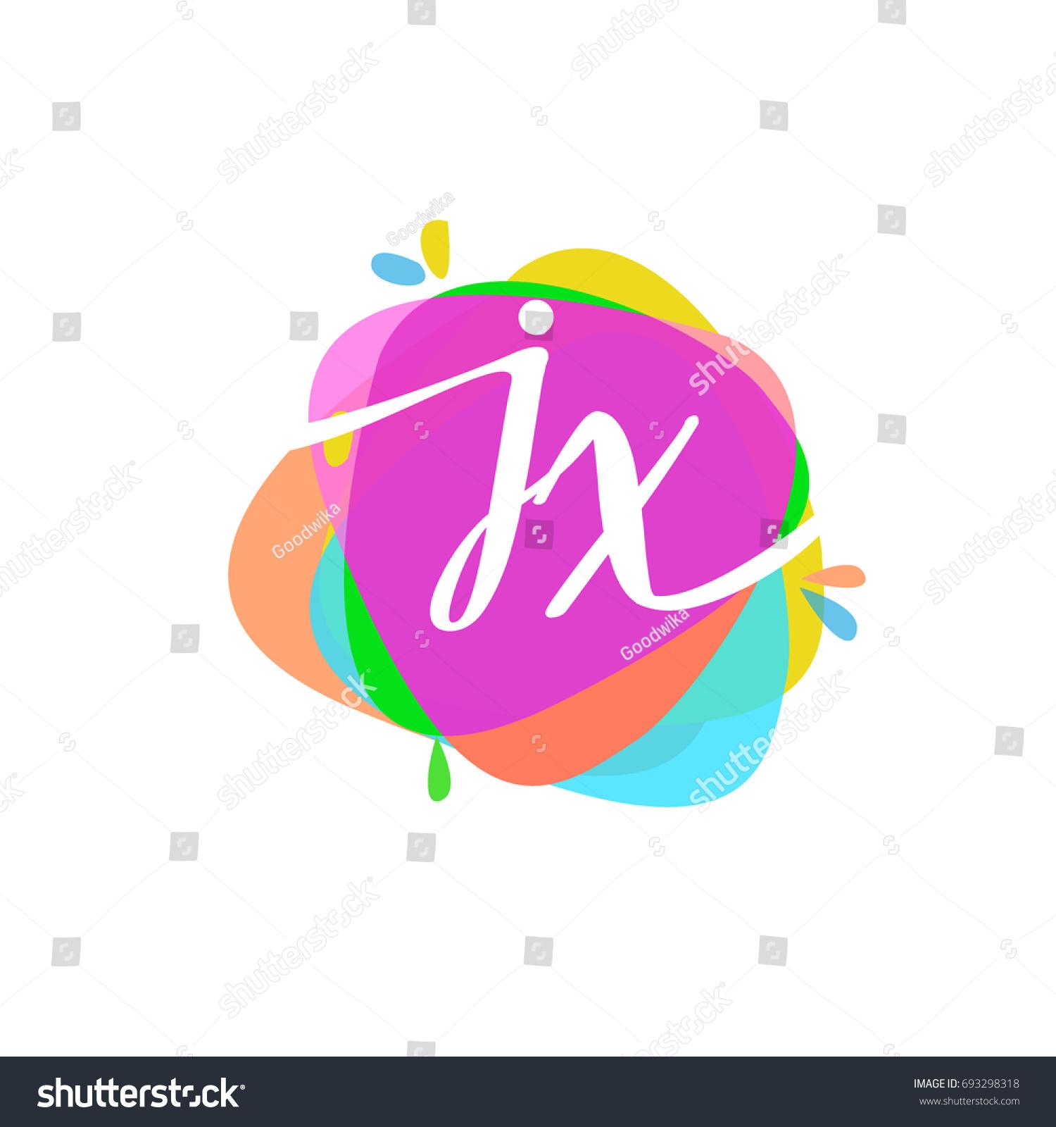 Letter JX Logo Colorful Splash Background Stock Vector 693298318 ...
