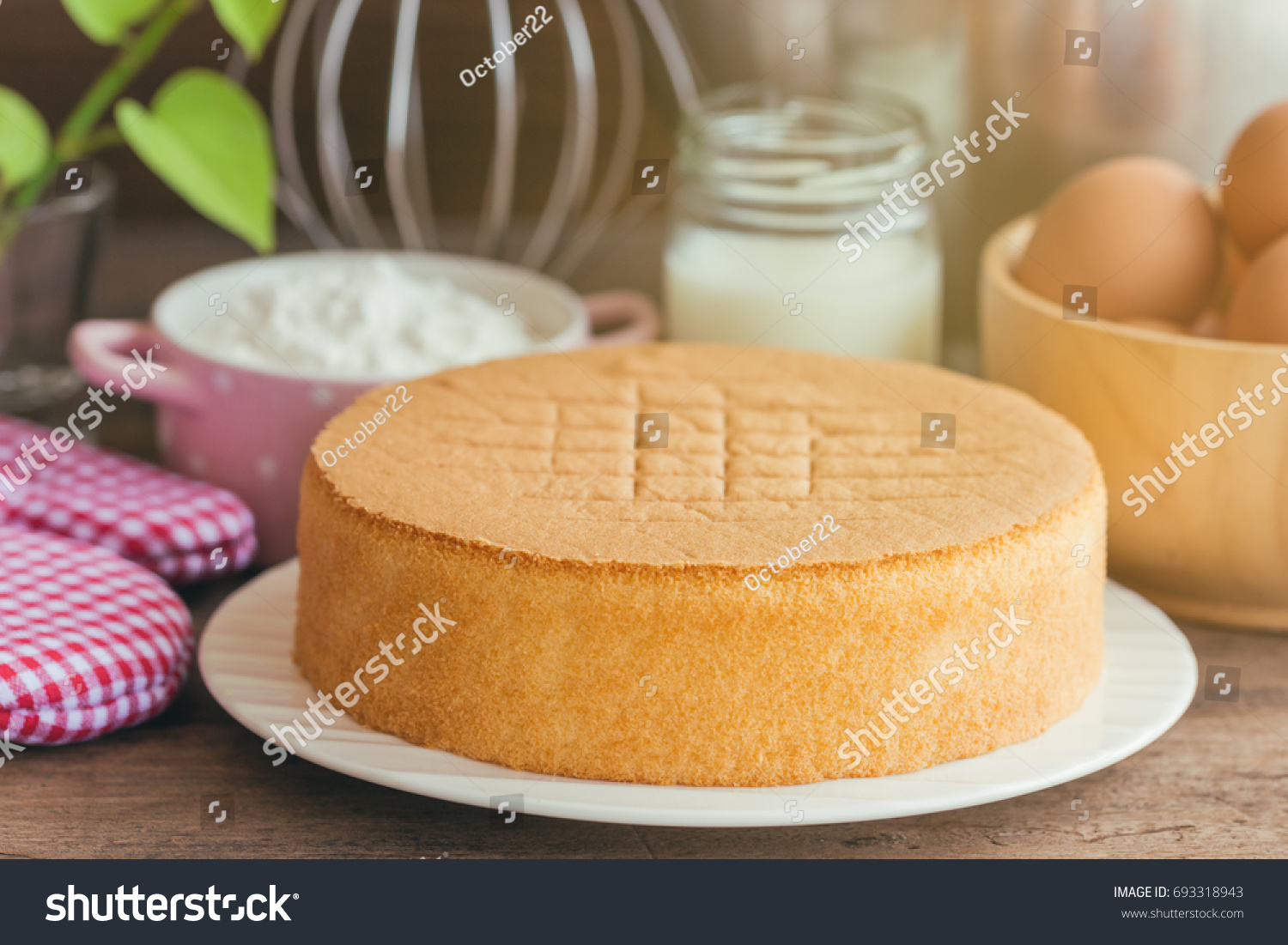 homemade delicious sponge cake soft cake stock photo (safe to use