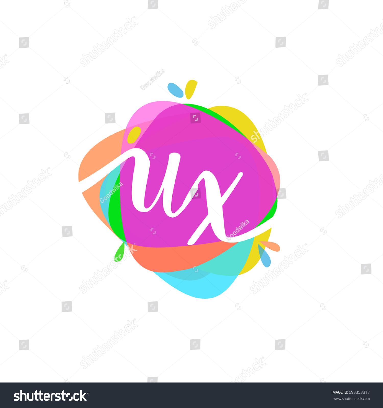Letter UX Logo Colorful Splash Background Stock Vector 693353317 ...