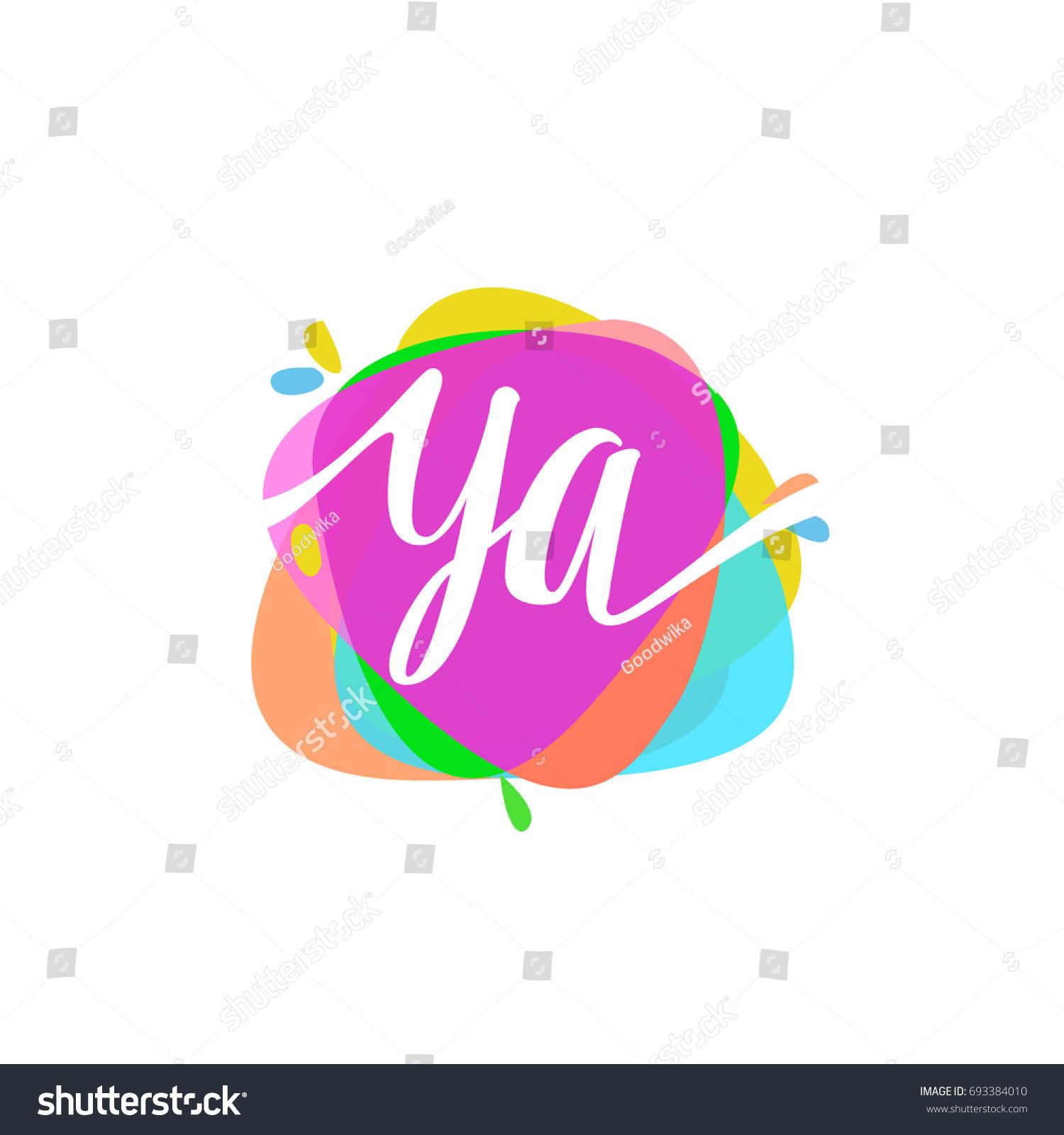 Letter YA Logo Colorful Splash Background Stock Vector (Royalty Free ...