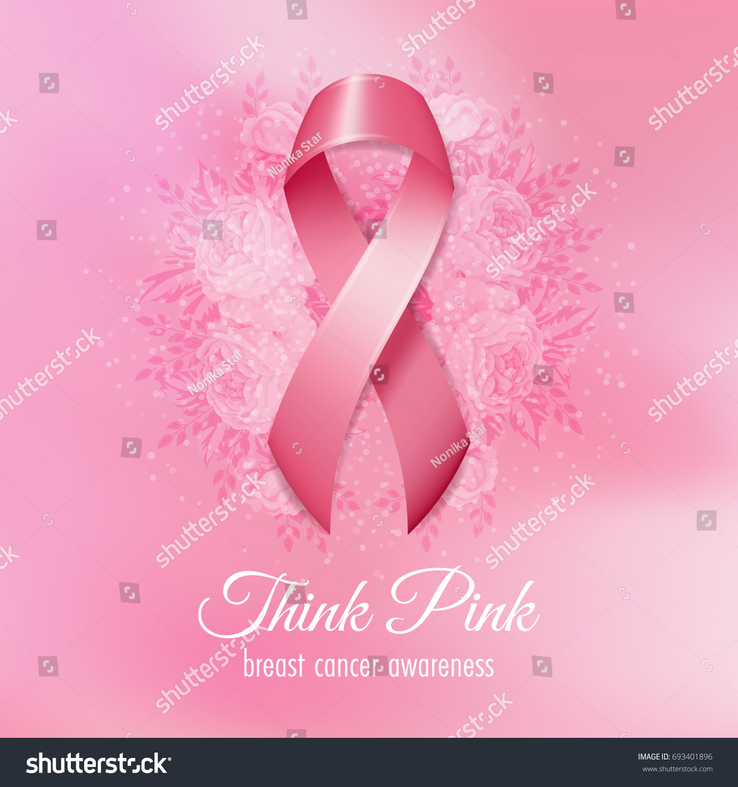 Breast Cancer Pink Ribbon Flowers On Stock Vector Royalty Free
