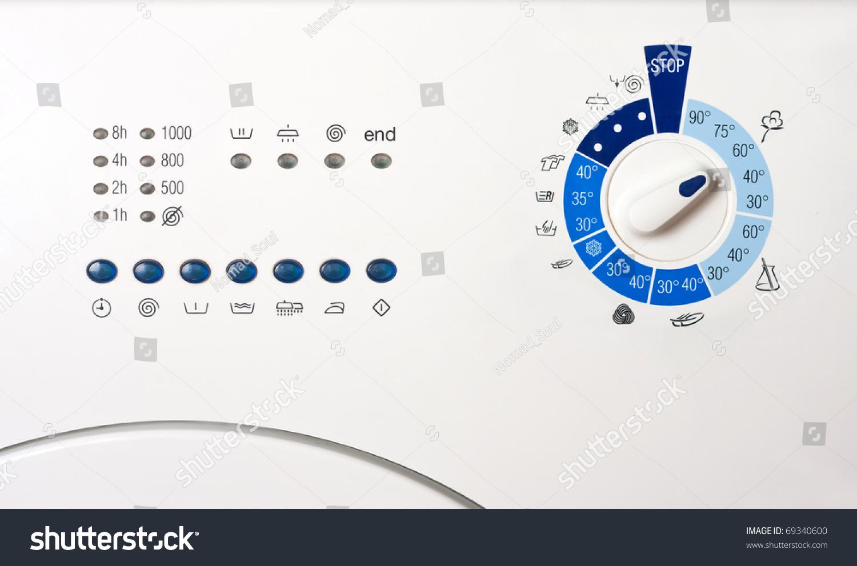 Washing Machine Controls : Closeup view washing machine control panel stock photo
