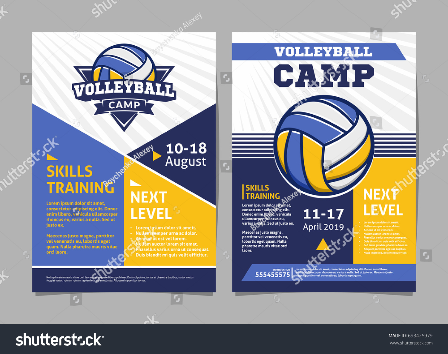 Volleyball camp flyer template design.