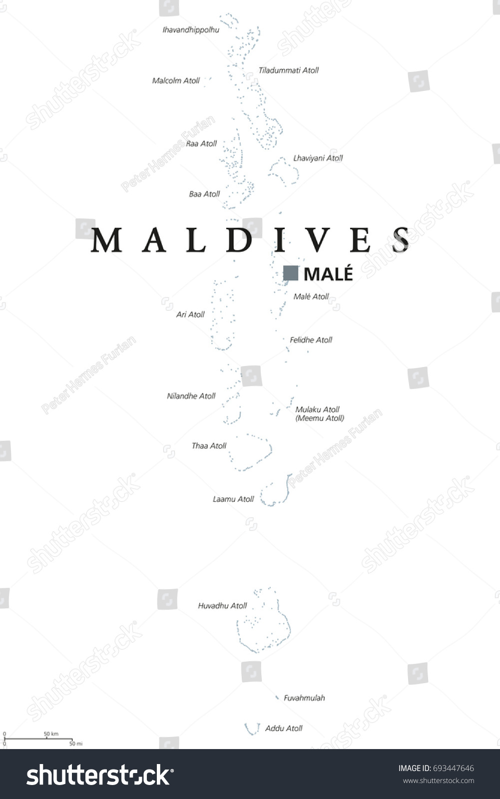 Maldives Political Map Capital Male English Stock Vector - male map