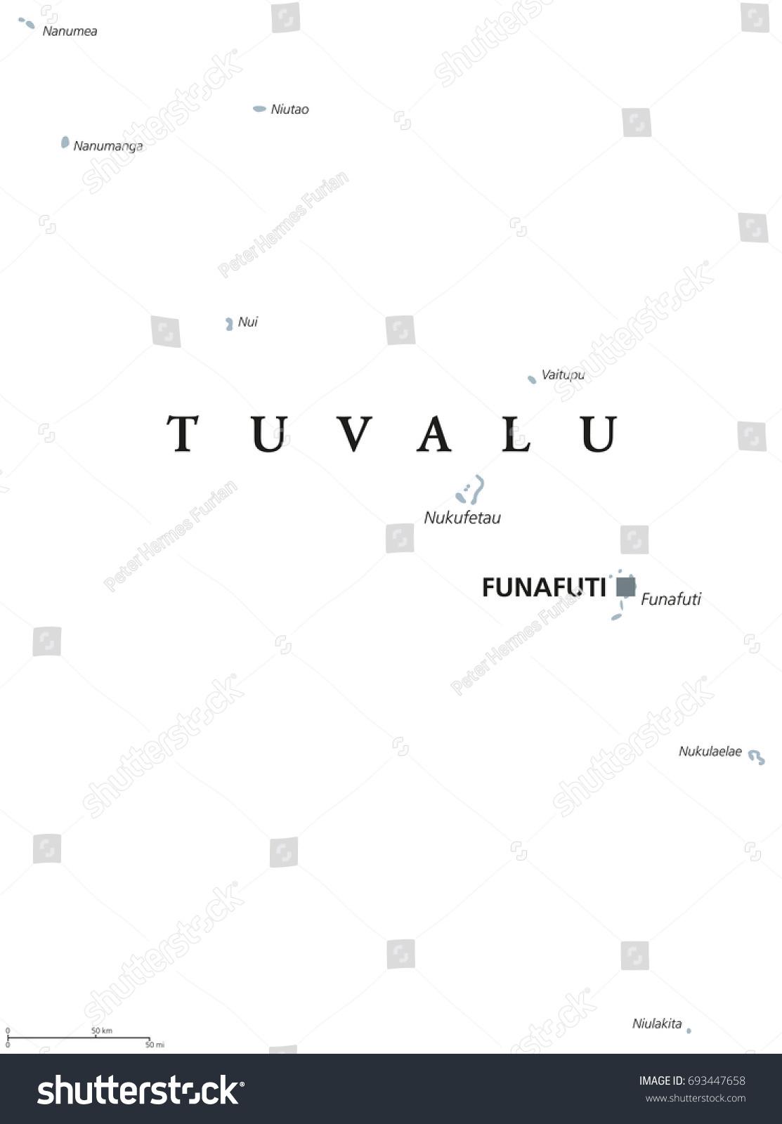 Tuvalu Political Map Capital Funafuti English Stock Vector 693447658