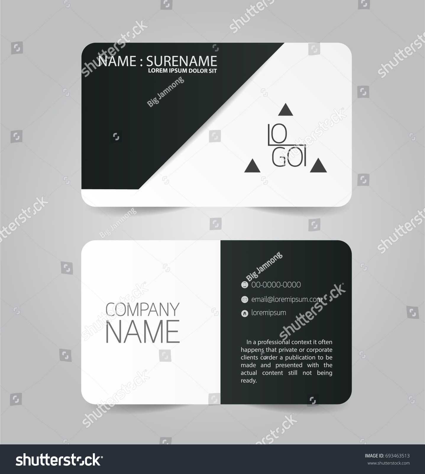 Black White Modern Business Name Card Stock Vector 693463513 ...