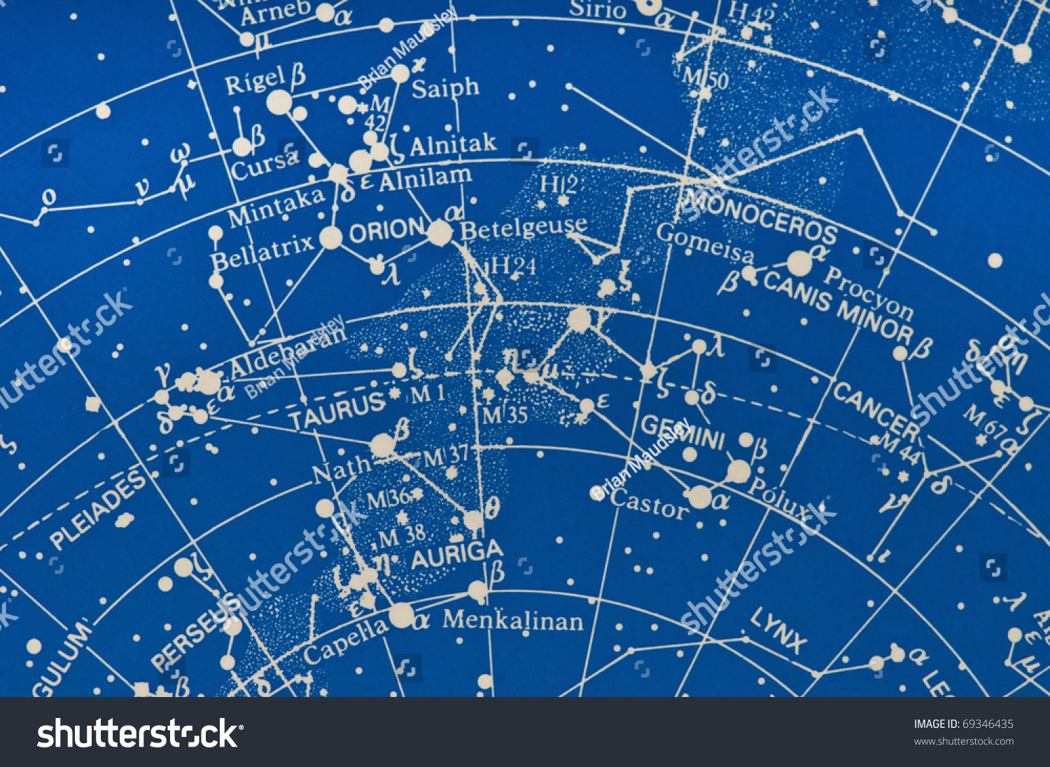 Section Star Map Showing Milky Way Stock Photo Edit Now - Orion star map