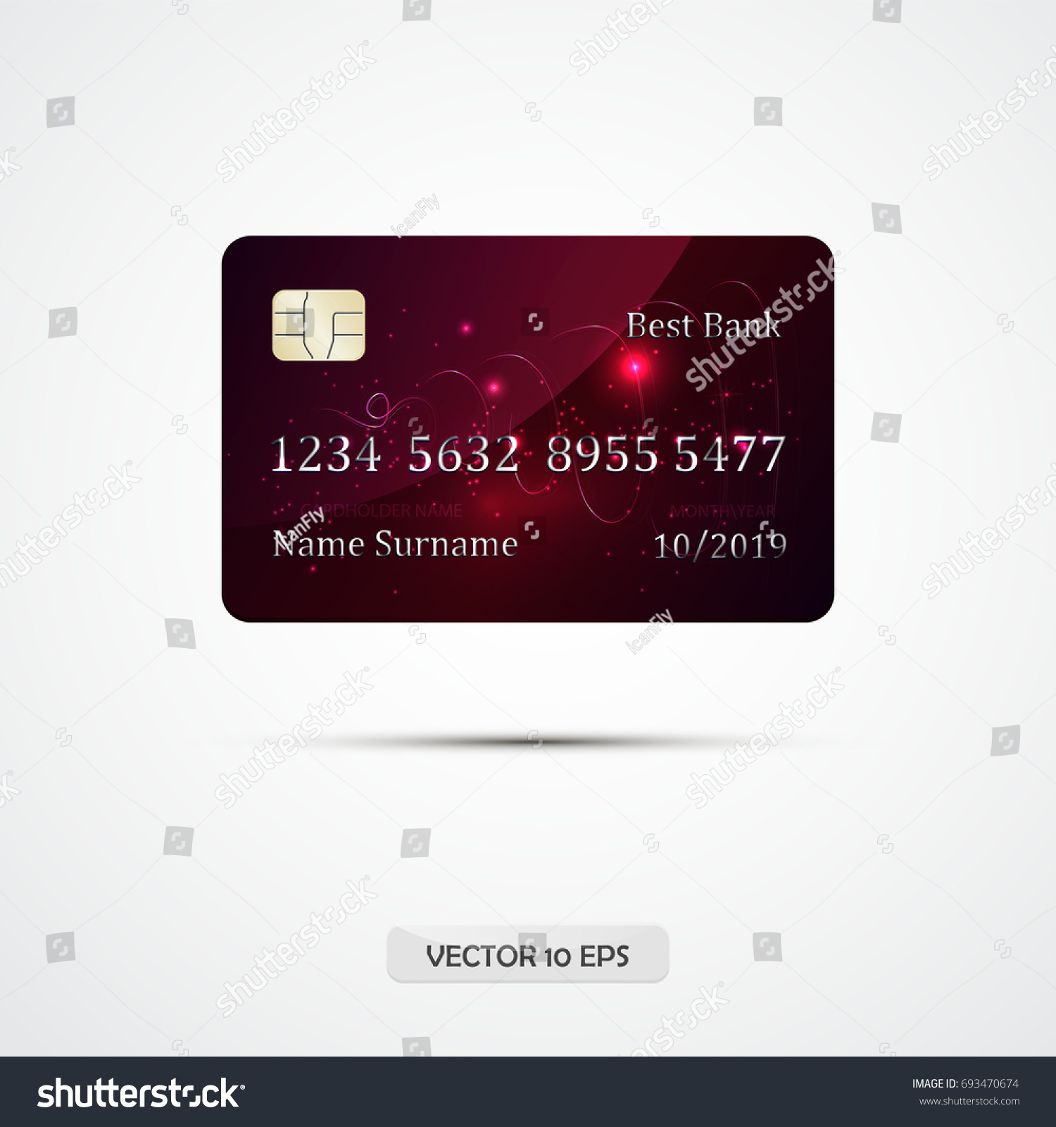 Credit card crimson on grey background stock vector 693470674 credit card crimson on grey background with shadow vector illustration detailed glossy credit card reheart Choice Image