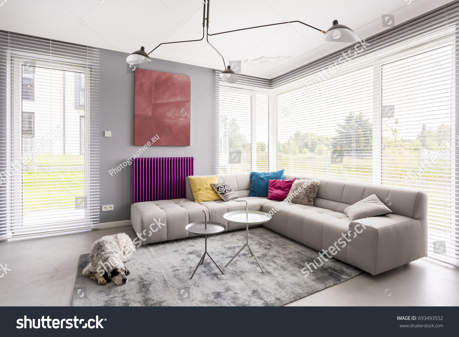 Bright Modern Living Room Comfortable Corner Stock Photo (Royalty ...