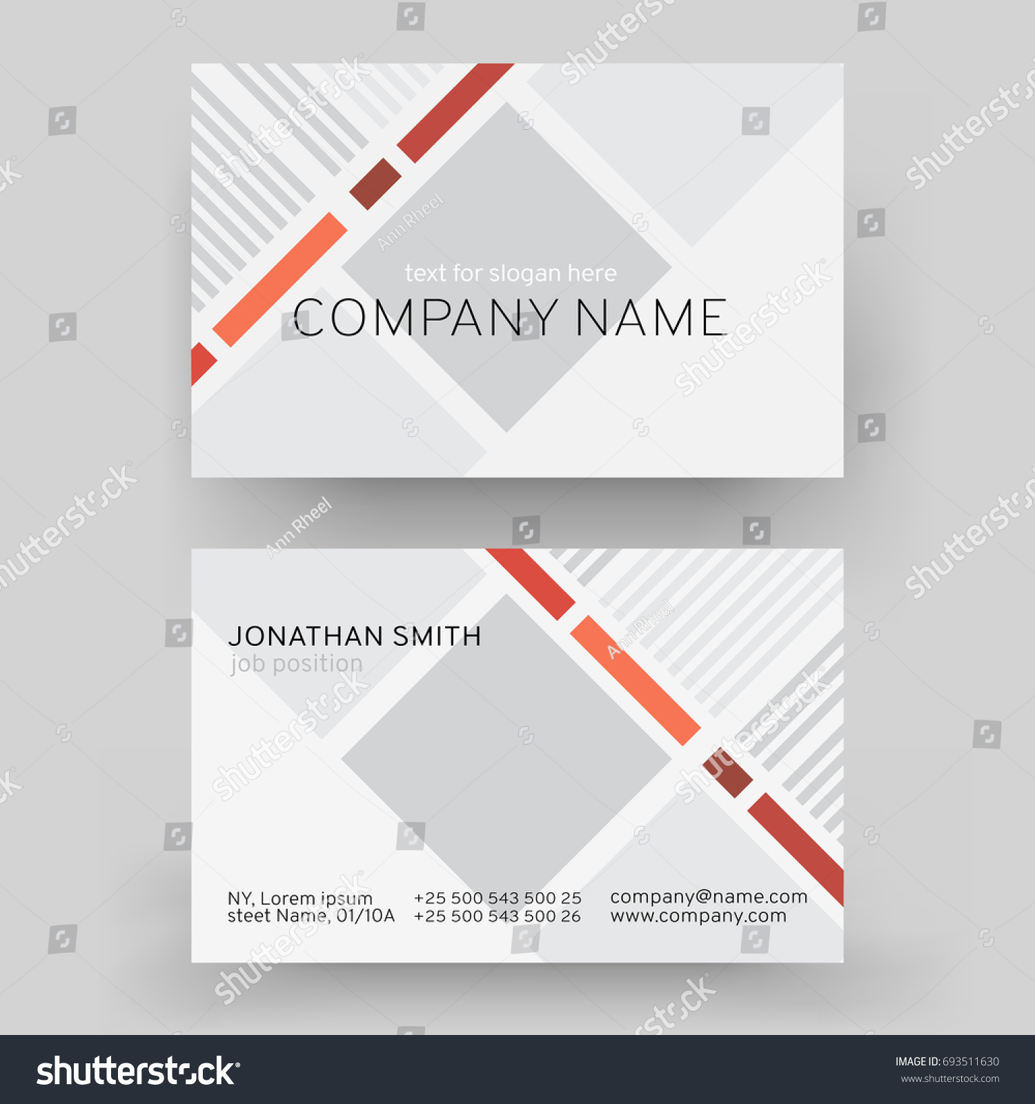 vector modern creative business card template stock vector 693511630 shutterstock. Black Bedroom Furniture Sets. Home Design Ideas