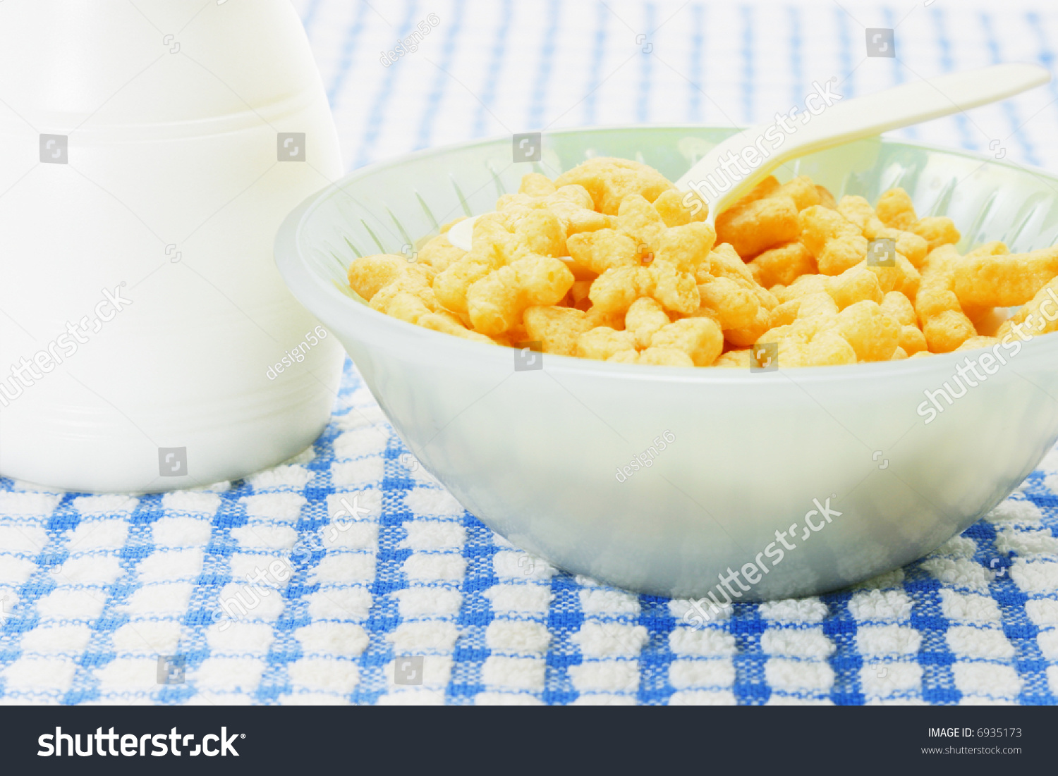 Bowl Of Cornflakes And Milk Bowl Star Shaped Cerea...
