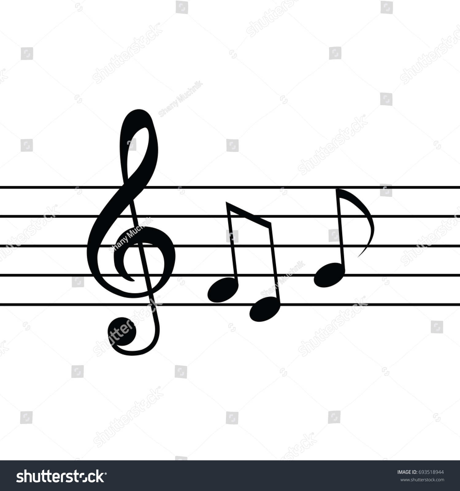 Treble clef flat design simple clean modern on black white music background isolated musical