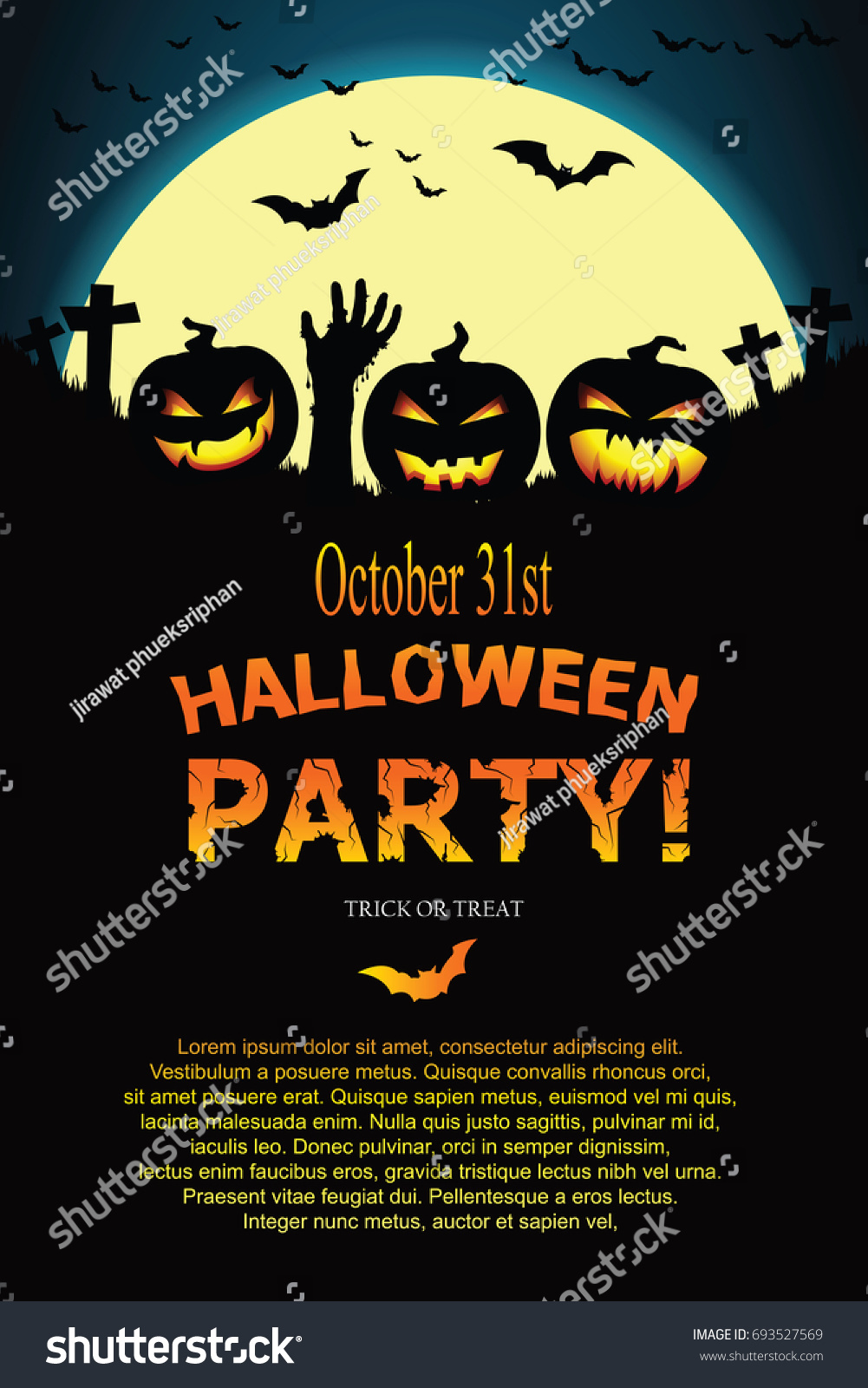 Halloween invitation vector eps 10 stock vector 693527569 shutterstock halloween invitation vector eps 10 stopboris Image collections