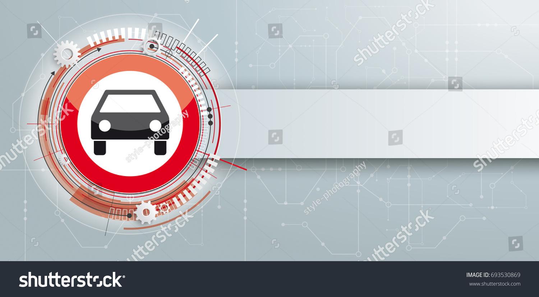 Car Stop Sign Banner Circuit Diagram Stock Photo (Photo, Vector ...