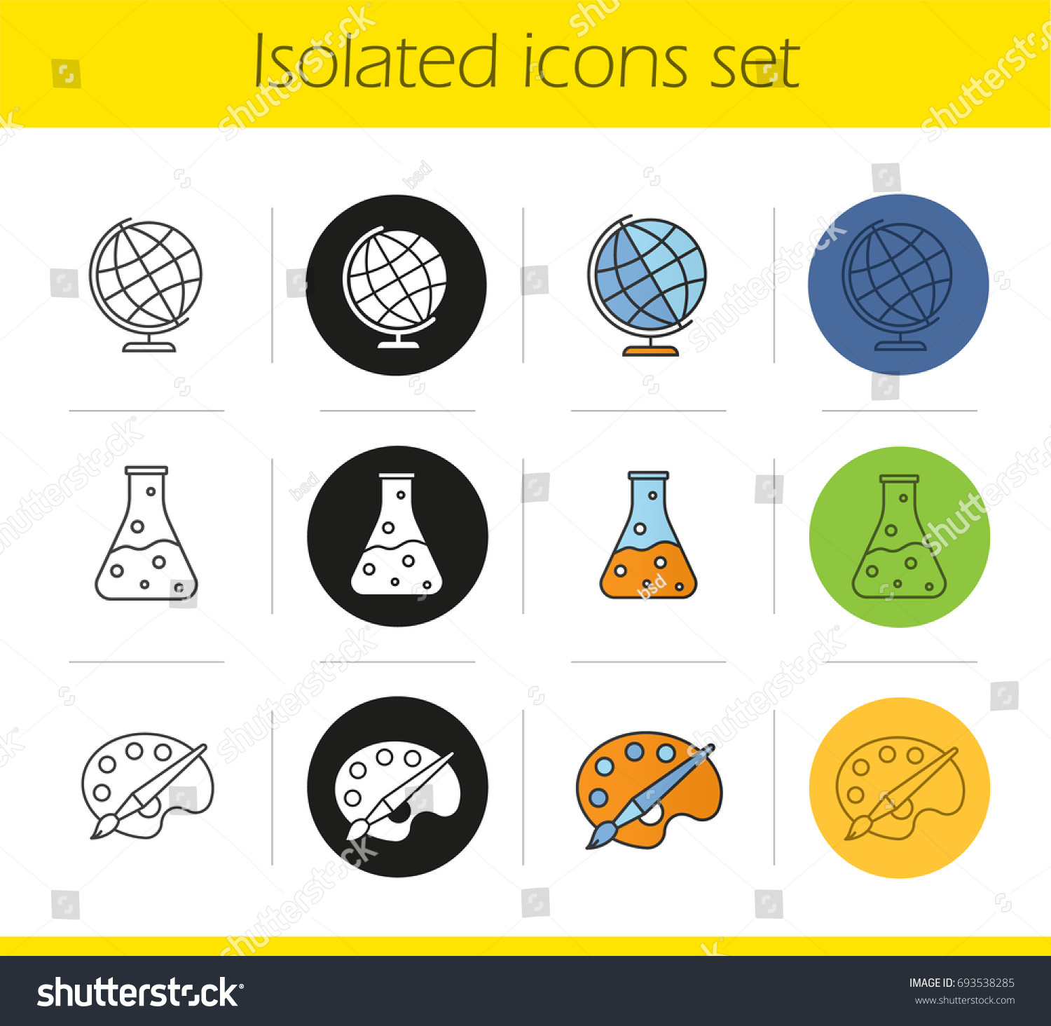 Education icons set linear black color stock vector 693538285 education icons set linear black and color styles geography chemistry art biocorpaavc Choice Image