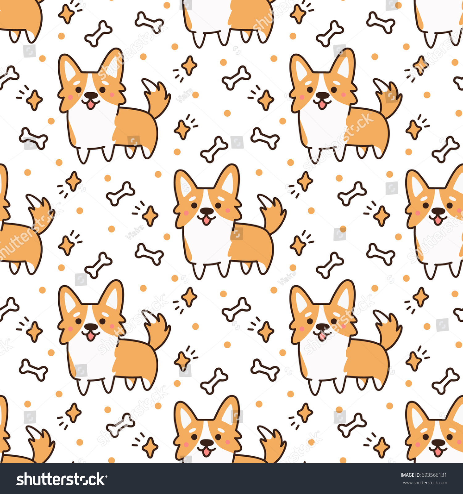 Cute Pattern Dog Breed Welsh Corgi Stock Vector 693566131
